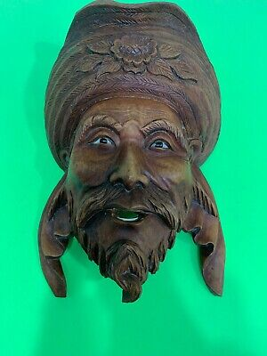 Vintage Wall hanging Asian Man Wood Sculpture Smiling Face Wood mask.