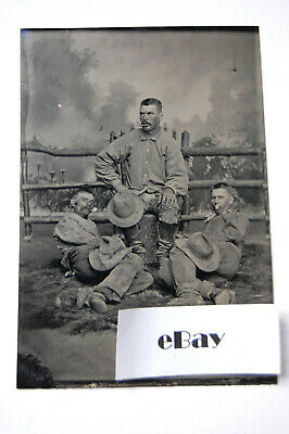 1884 Tin Type 2 Men and a Boy Smoking Oconomowoc, WI (Albert Guelke)