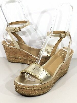 e9eb89f6143 Jack Rogers Lennon Womens Sz 9.5 Gold Leather Ankle Strap Wedge Sandals  VS-296