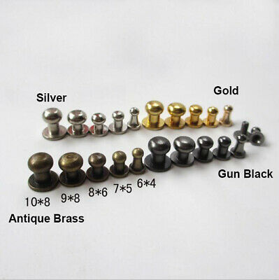 Solid Brass Round Head Stud Screwback Craft Leather Bag Screw Nail Rivet MKD