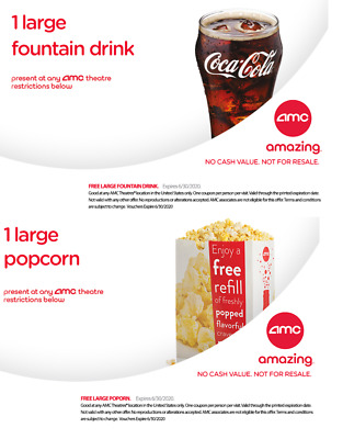 AMC Theater Large Popcorn & Large Drink - Exp 6/30/20