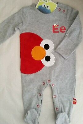 SESAME STREET ELMO LIcensed Boy coverall all-in-one grey NEW sz 000-1