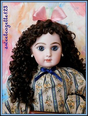 WIG FOR GINNY DOLL  CENTER-PART WITH CURLS AND BOWS LIGHT BROWN