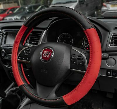 Red Leather Look Stitched Steering Wheel Cover for Fiat Panda 04-On