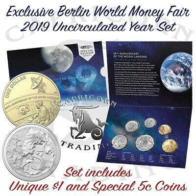 Special Release 2019 Moon Landing 50th Anniversary Berlin WMF 6 coin Unc Set #a
