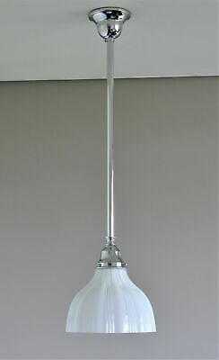 MAGILL-ONE LIGHT PENDANT-CHROME-RAILWAY WHITE GLASS SHADE-single bathroom rod