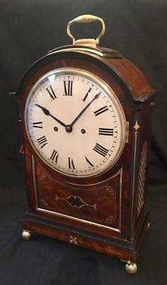 Antique bracket clock double fusee pull repeat pad top brass inlay