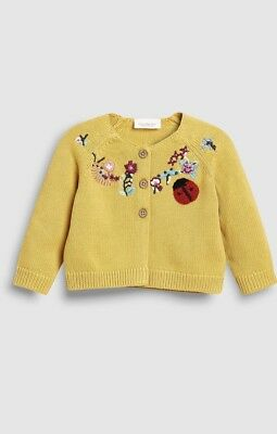 c78005b65 NEXT BABY GIRL Ochre Ladybird Embroidered Cardigan 12-18 Months BNWT ...