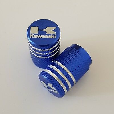 KAWASAKI BLUE Wheel Valves Tire Dust Caps universal Fit Fits all Bikes Set of 2