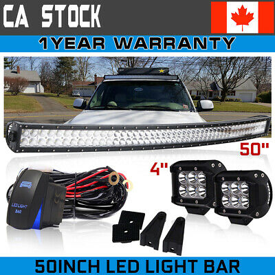 """50inch 288W LED Work Light Bar Curved+4"""" Pods Truck Offroad ATV SUV 4WD Fog Lamp"""