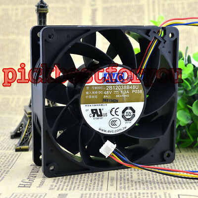 1pcs AVC 2B12038B48U fan 120*120*38mm DC48V 1.30A 4pin PWM #M3861 QL