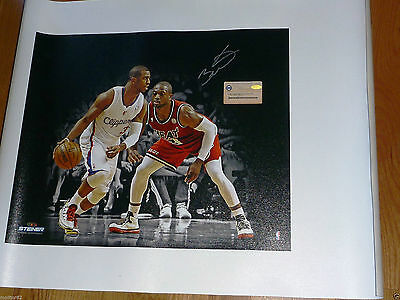 f883a2233928 MARQUETTE MIAMI HEAT DWYANE WADE 3 SIGNED Chris Paul Photo on Canvas  Steiner COA