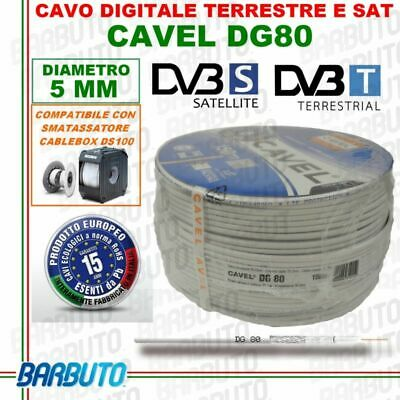 CAVO TV 150Mt ANTENNA SATELLITARE DIGITALE TERRESTRE COASSIALE HD - CAVEL DG80