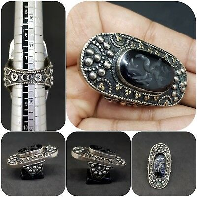 Wonderful Silver Mix Long Ring with Intaglio Bird black Agate stone