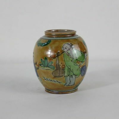 Chinese old hand-made porcelain famille rose flower bird pattern tea caddy