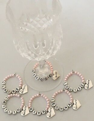 Hen party wedding day wine glass charms personalised name favours all colours