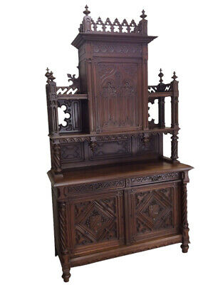 Tall & Impressive Antique French Gothic Cabinet, 19th Century, Walnut