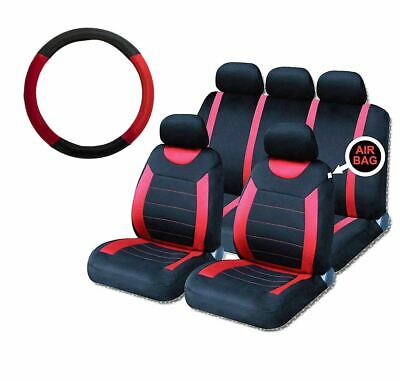 Red Steering Wheel & Seat Cover set for Alfa Romeo Mito 09-On