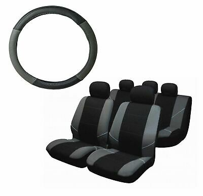 Grey Steering Wheel & Seat Cover set for Renault Clio All Models