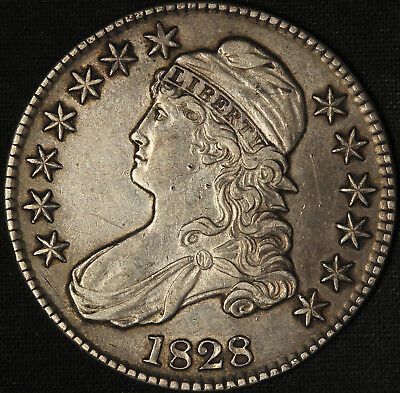1828 Capped Bust Half Dollar - Sq Base 2 Small 8s Lrg Letter - Free Shipping USA