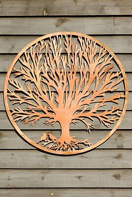 Large Rustic Metal Tree Wall Hanging Art Outdoor Garden Round Circle Rusty Decor