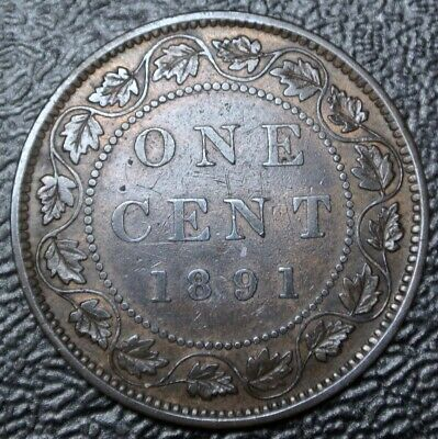 OLD CANADIAN COIN 1891 SDSL - ONE CENT LARGE CENT - BRONZE - Victoria - Nice
