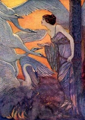 Fairy Tale Postcard: Art Nouveau Print Repro - Woman with Swans - The WiId Swans
