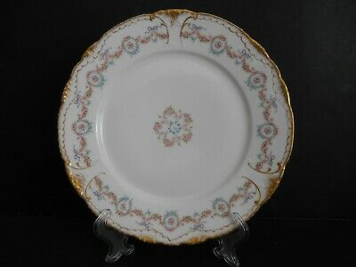 Theo Haviland Limoges #330 Dinner Plate Rose Swags, Purple Bows Dbl Gold B