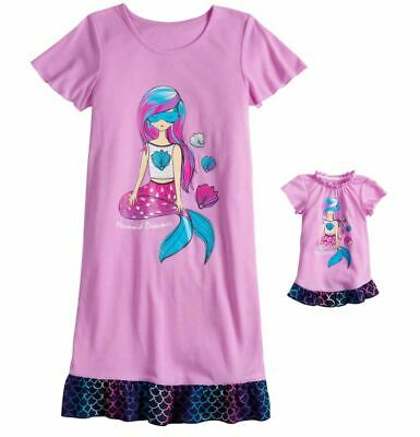 600742acfb Girl 4-14 and Doll Matching Mermaid Nightgown Clothes ft American Girl  Dollie Me