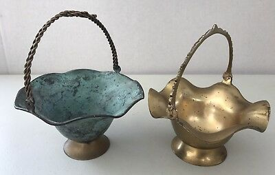 Vintage Pair Brass Lotus Bowl with Saw Tooth & Twisted Knot Handles Bronze Aged