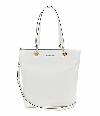4c164c0f80ab Michael Kors Raven Pebble Leather Large North South Top Zip Tote (Optic  White)