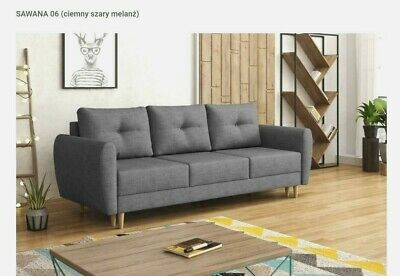 NEW RETRO 3 SEATER SOFA BED in GREY SPRUNG SEAT- FREE DELIVERY, WITH STORAGE