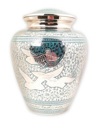 Adult Cremation Urn for Ashes Large Funeral Memorial Urn Blue Flying Birds NEW