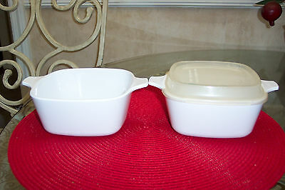 Corning Ware All White Set Of 2 Casserole Dishes With 1 Rubber Lid P-43-B