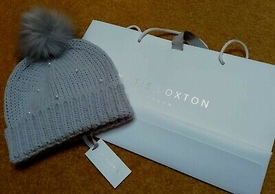 Katie Loxton pearl scattered cable knit bobble hat - pale grey b86fb6bffe3a