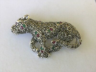 Solid Sterling Silver Marcasite TIGER Brooch with Emerald & Rubies