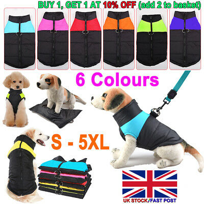 Pet Dog Clothes Autumn Winter Warm Padded Coat Vest Jacket Waterproof Apparel #