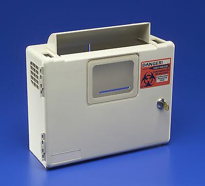 Kendall 5qt Sharps container Wall Mount Cabinet Safety keyed. FREE 5qt container