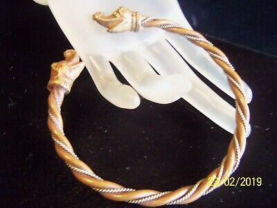 Antique Solid Copper & Brass Twisted Dragon Cuff bracelet Large wrist   old