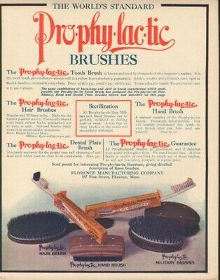 1908 Prophylactic Tooth Brush Hair Hand Military Dental7474