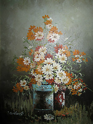Vintage Floral Still Life Original Painting signed Flowers (daisies) blue bucket