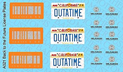 1//15 Scale Waterslide Decals Back to the Future Delorean License Plates