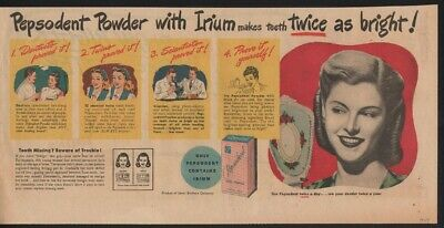 1947 Pepsodent Tooth Paste Irium Beauty Health Dental Hygiene Lever Teeth 21403