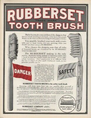 1912 Rubberset Tooth Brush Dental Hygiene Dentist Teeth Health Gum Plaque 21981