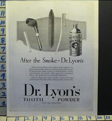 1924 Dr Lyons Tooth Powder Pipe Cigar Smoke Dental Dentist Health   H25