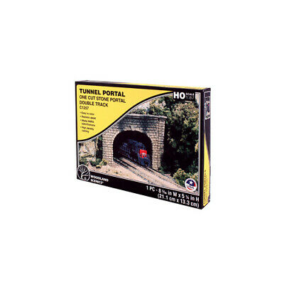 HO Scale Double Track Cut Stone Tunnel Portal - Tunnel #C1257 Woodlands