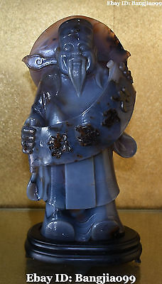 """16"""" Chinese Natural Agate Onyx Handwork Carving Mammon Money Wealth God Statue"""
