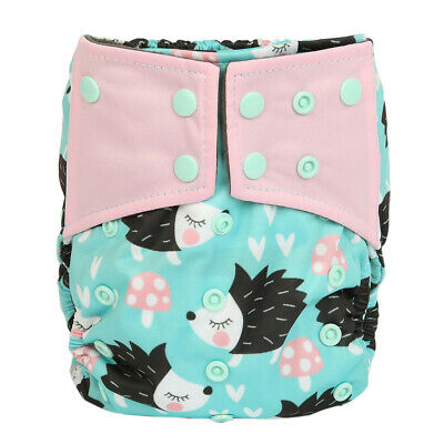 Baby Cloth Diaper Nappy Cover Bamboo Charcoal Reusable Gussets Hedgehog Girls