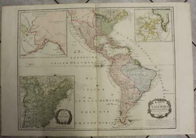American Continent 1795 Von Reilly Uncommon Wall Antique Copper Engraved Map