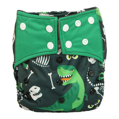 Baby Cloth Diaper Nappy Cover Bamboo Charcoal Reusable Gussets Dinosaur For Boys